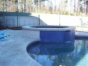 Raised Attached Circular Spa